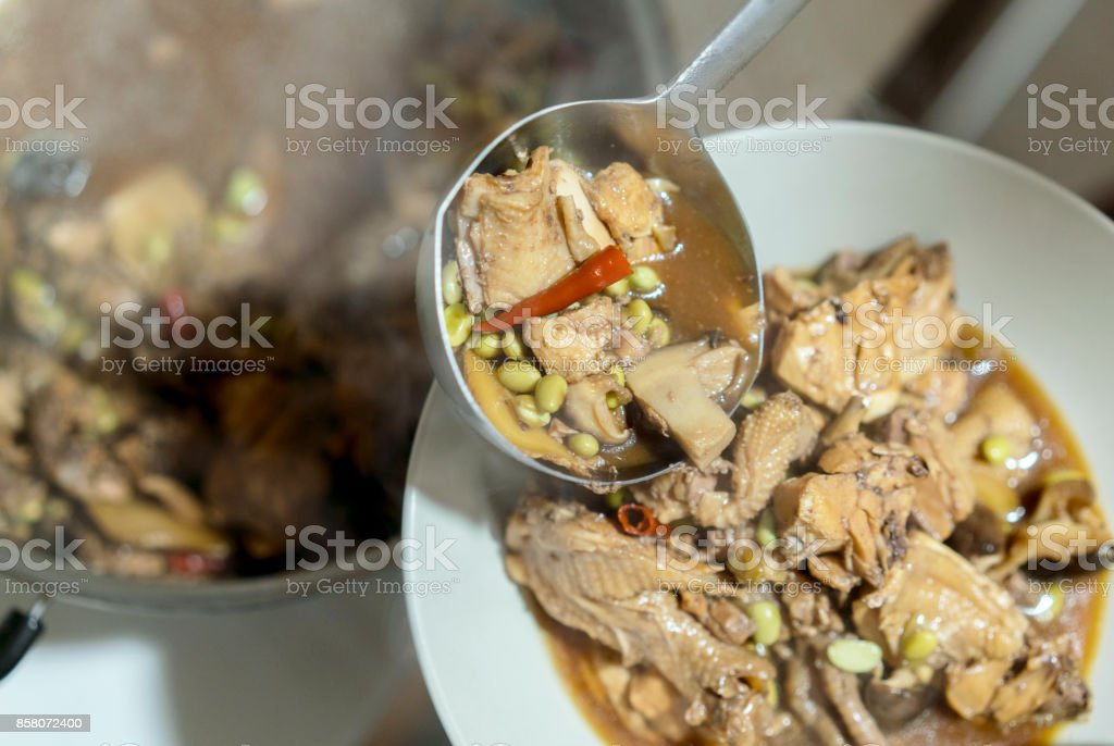Chinese cooking: Braised chicken in brown sauce stock photo