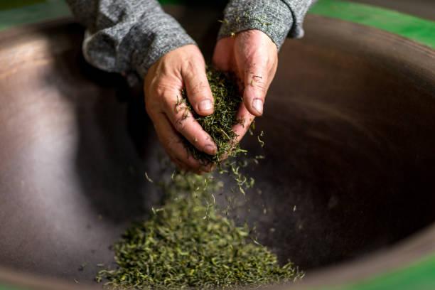 Chinese craftsmen, handmade tea stock photo