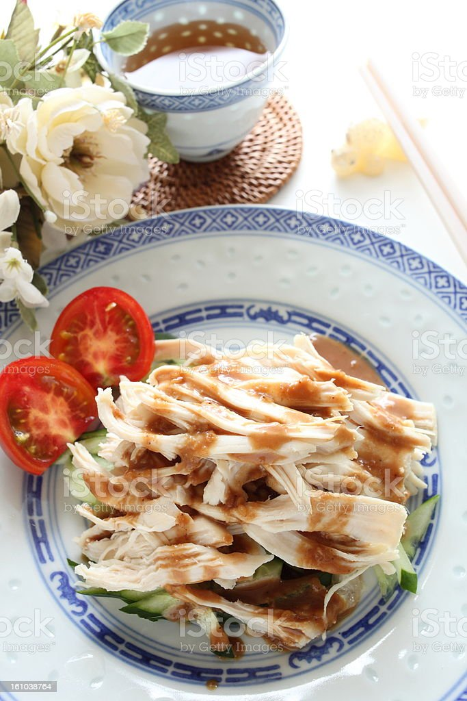 chinese cuisine, cold chicken and sesame sauce royalty-free stock photo
