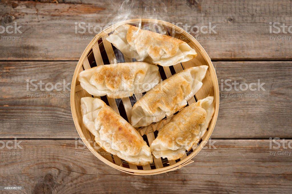 Chinese cuisine pan fried dumplings stock photo