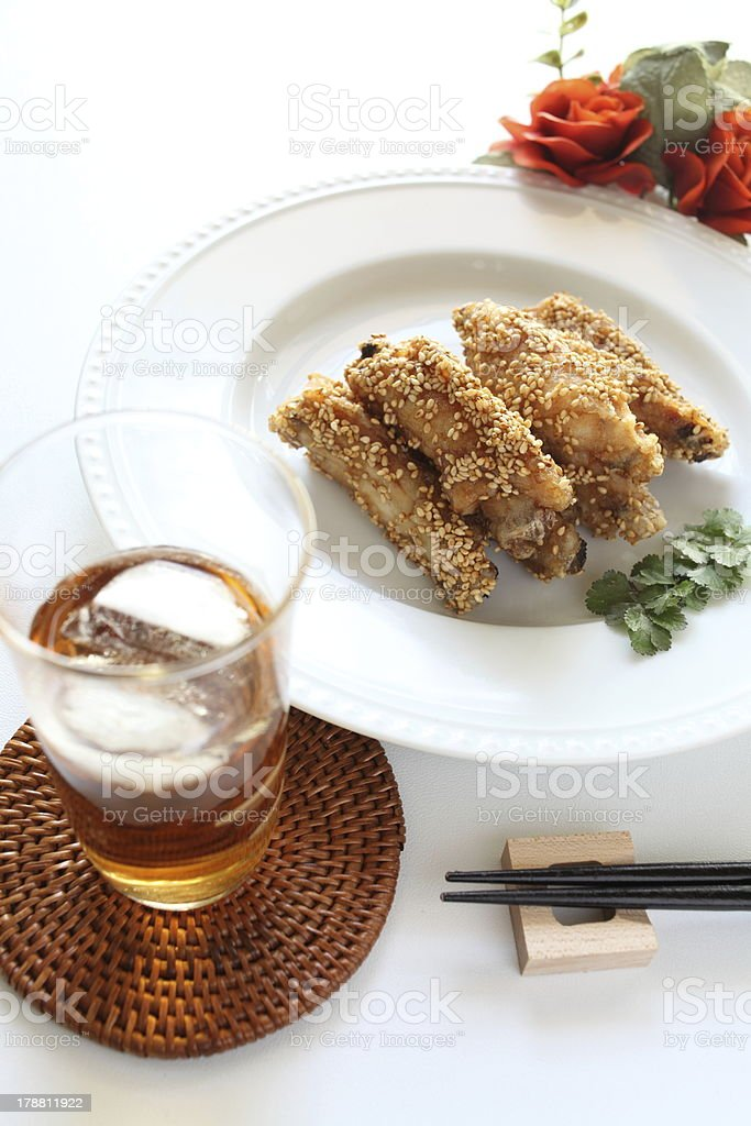 chinese cuisine, sesame chicken and iced drink royalty-free stock photo