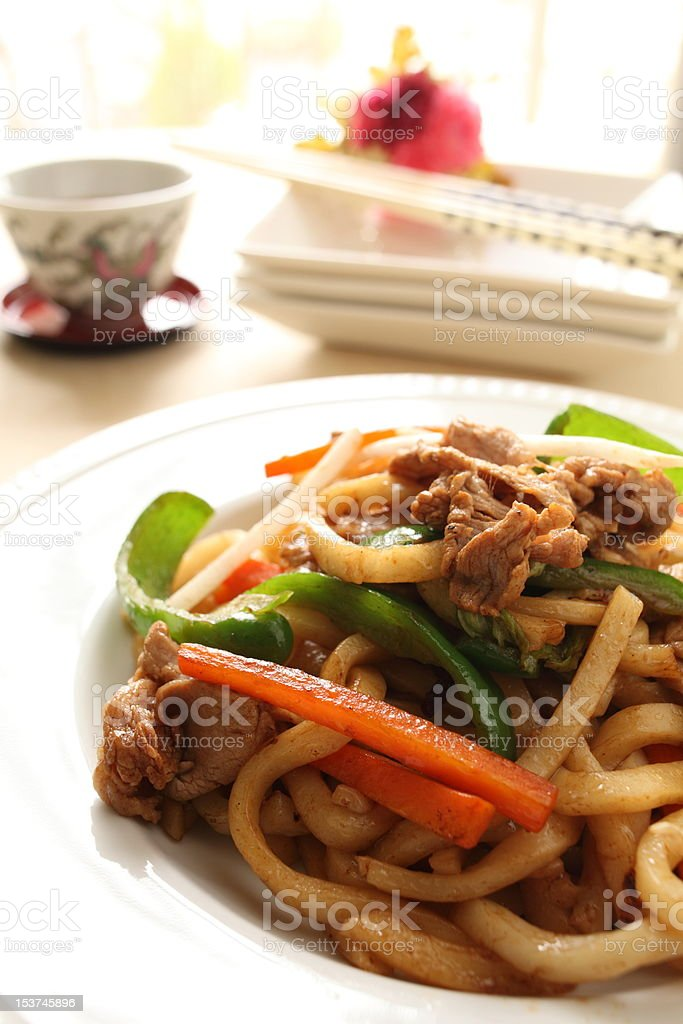 Chinese cuisine, Shanghai Fried noodles royalty-free stock photo