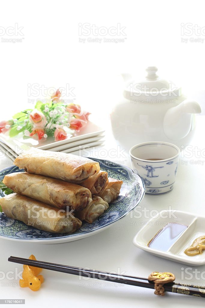 chinese cuisine, spring roll and tea for Yum cha image royalty-free stock photo