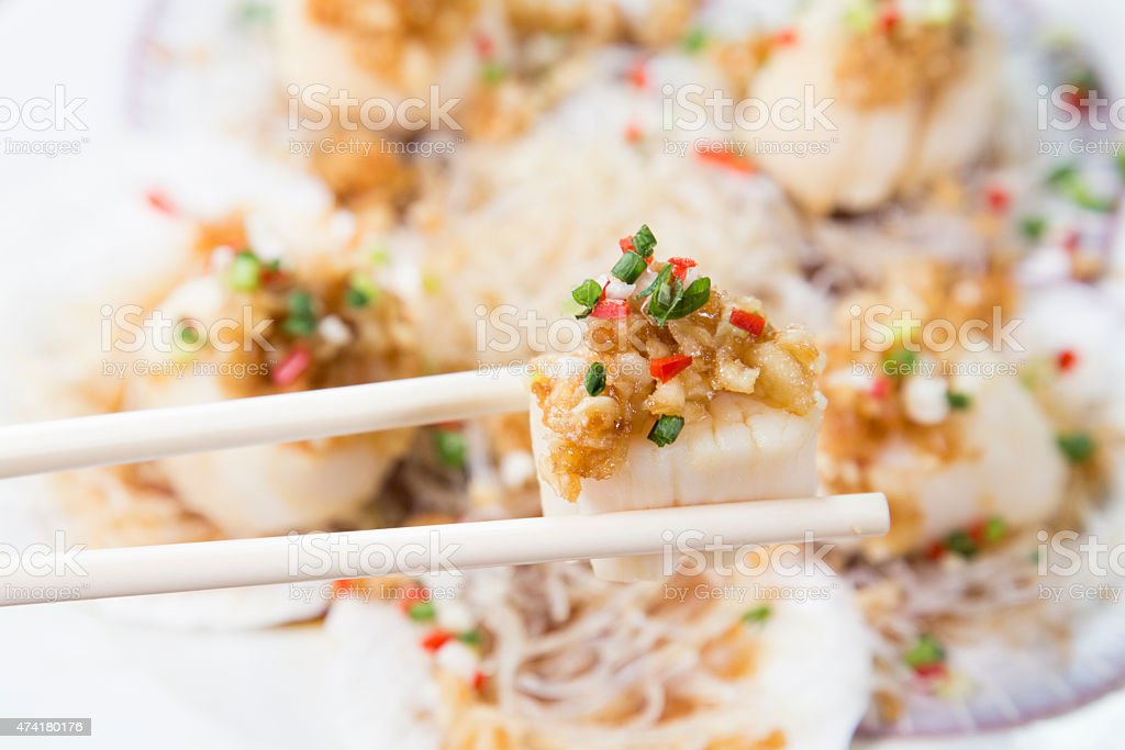 Chinese Cuisine, Vermicelli and Scallop Stir Fried stock photo