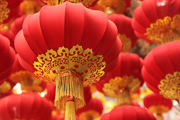 chinese culture: festival red lanterns - chinese new year stock pictures, royalty-free photos & images