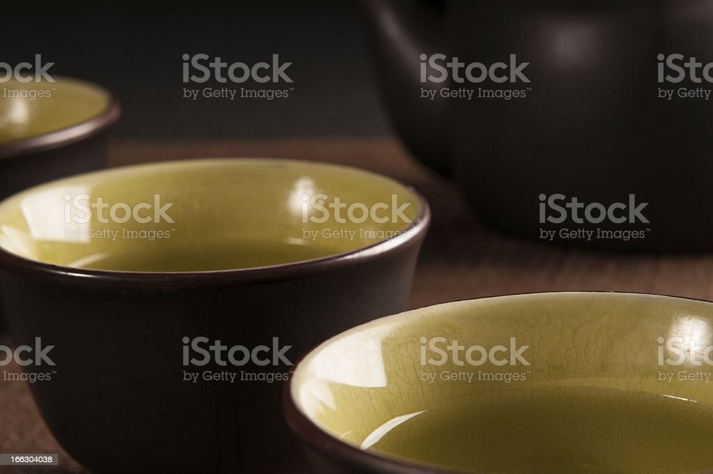 Chinese cup of tea on black background stock photo