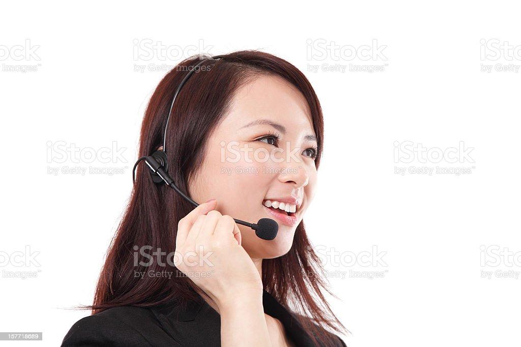Chinese Customer Service Representative on White Background royalty-free stock photo