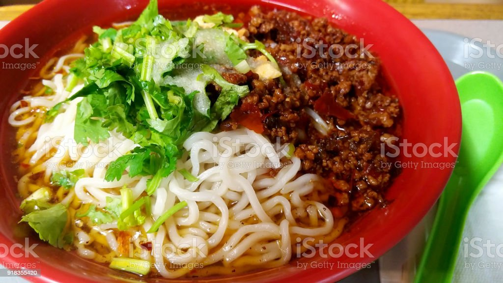 Chinese dan dan noodles with hot spice stock photo