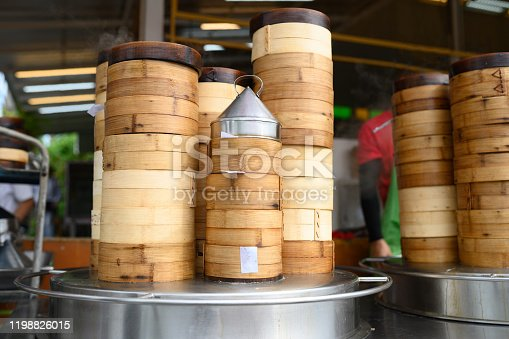 Image of Chinese dim sum in bamboo basket.