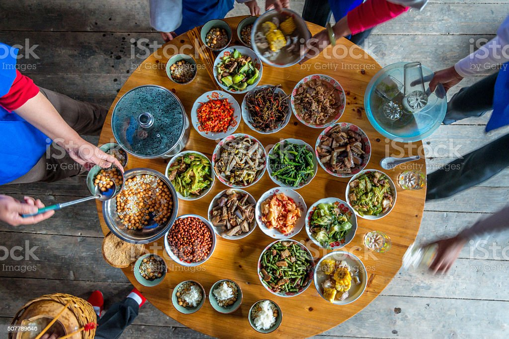 Chinese dinner at home, high angle view stock photo