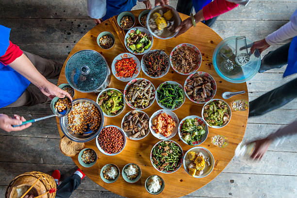 chinese dinner at home, high angle view - chinese food stock photos and pictures