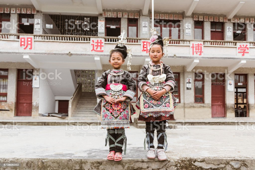Chinese Dong People School Girls in Traditional Clothing Huanggang China stock photo
