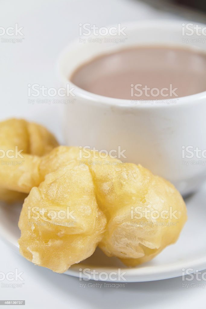Chinese Dough Stick accompany with cocoa royalty-free stock photo