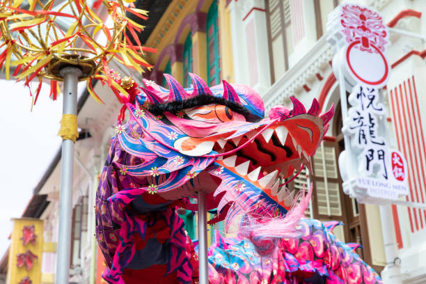 Chinese dragon dance. stock photo