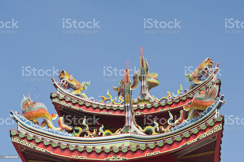 chinese dragon god sculpture on temple roof royalty-free stock photo