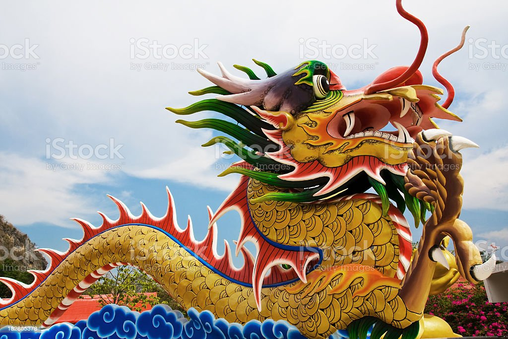 Chinese dragon image with sky backgrounds stock photo