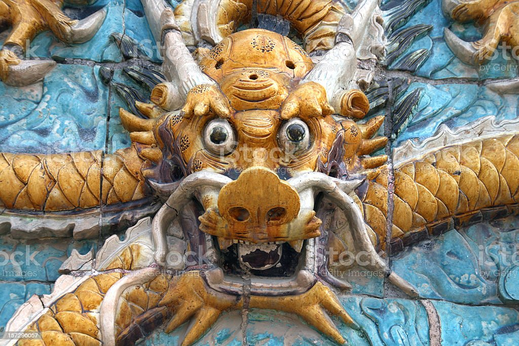 Chinese dragon in forbidden city stock photo