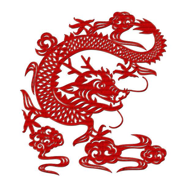 chinesischer drache (clipping path!! isoliert auf weißem hintergrund - chinesische zeichen tattoos stock-fotos und bilder
