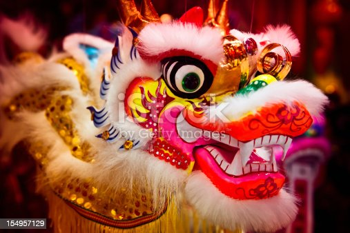 Chinese dragon puppet head, Selective focus.