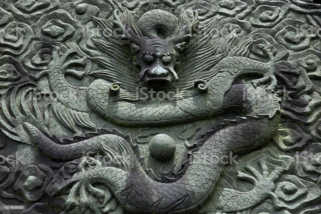 Chinese dragon relief royalty-free stock photo