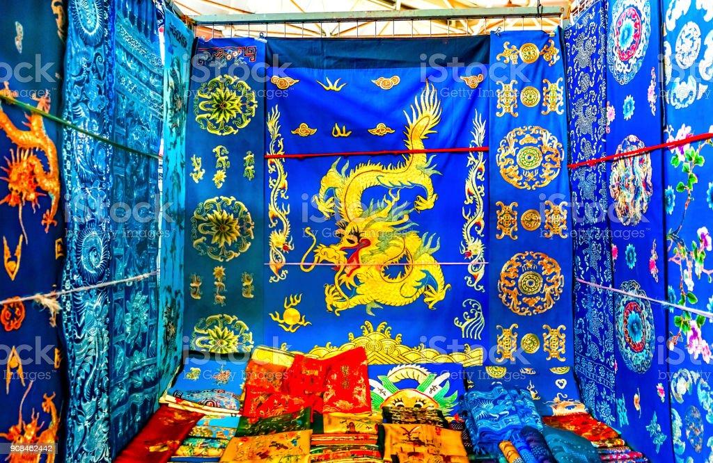 Chinese Dragon Replica Silks Panjuan Flea Market  Decorations Beijing China stock photo