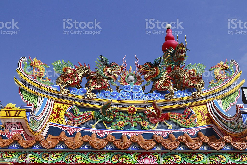 Chinese dragon roof royalty-free stock photo