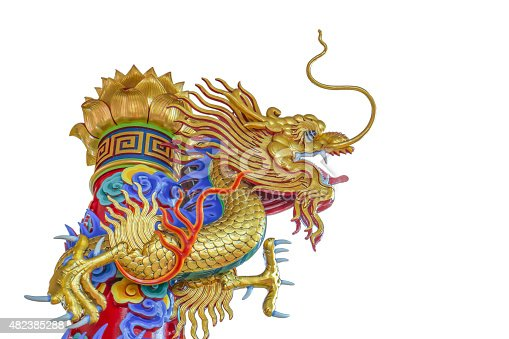 istock Chinese dragon sculpture isolated on white background 482385288