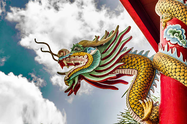 Chinese Dragon Sculpture Chinese Dragon Sculpture in Chinese Shrine bodhisattva stock pictures, royalty-free photos & images