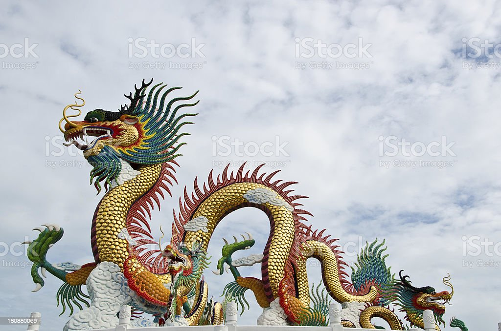 Chinese dragon statue is a large park in the center. stock photo