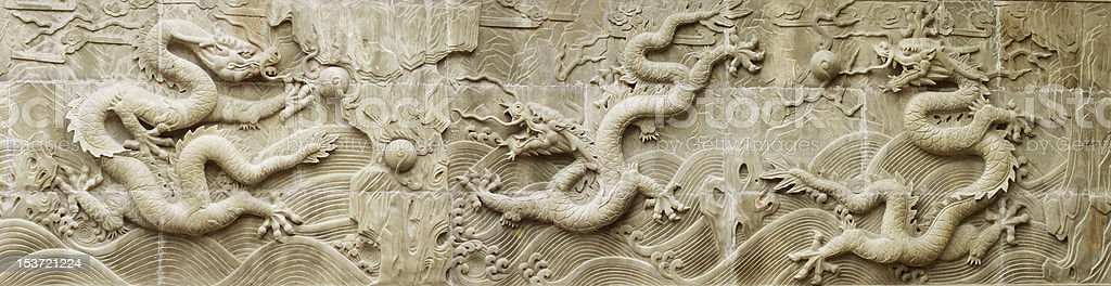 chinese dragon's relief royalty-free stock photo