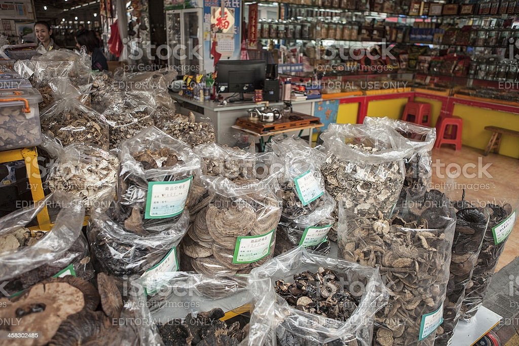 Chinese dried food market stock photo