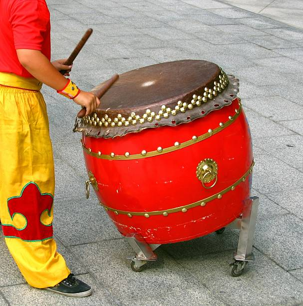 Chinese Drummer stock photo