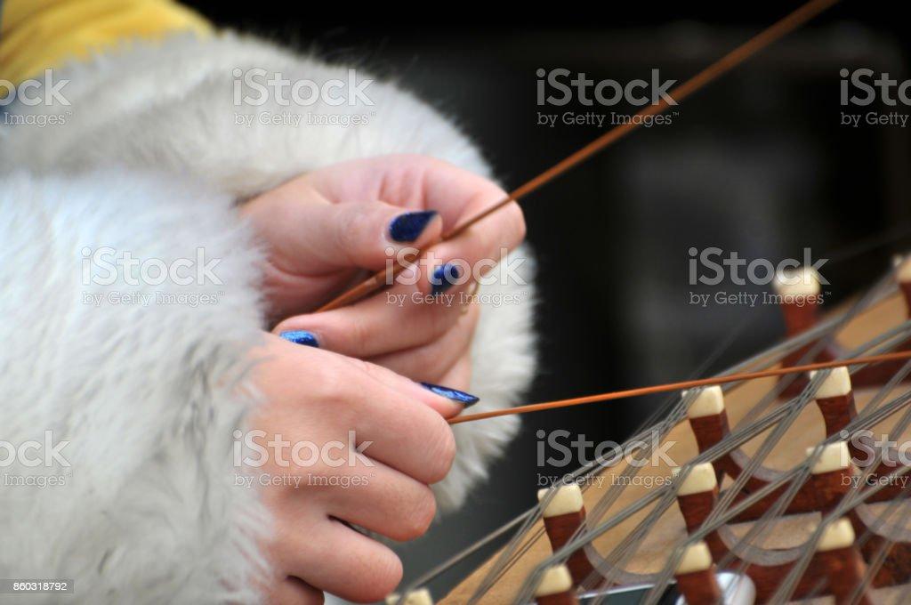 Chinese dulcimer folk musical instrument stock photo