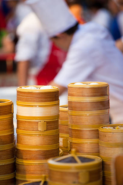 Chinese dumpling steamers in Bangkok Chinatown stock photo