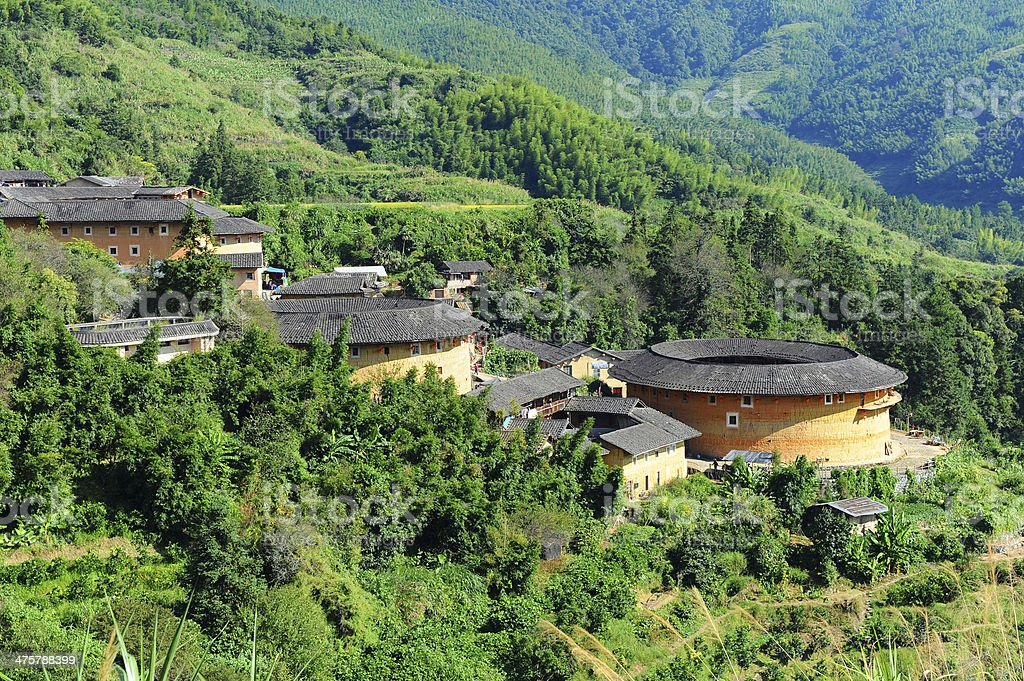 Chinese earthen houses in Fujian province stock photo
