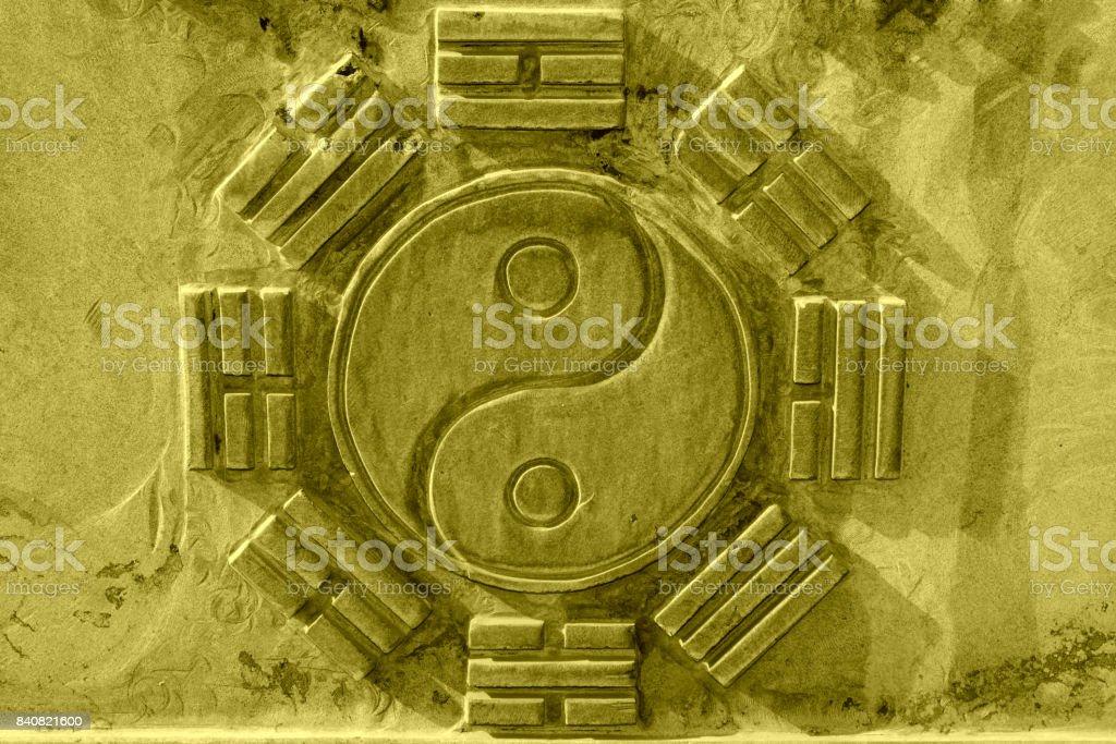 Chinesische acht Trigramme in den grauen Felsen in einem Tempel, Nord-china – Foto