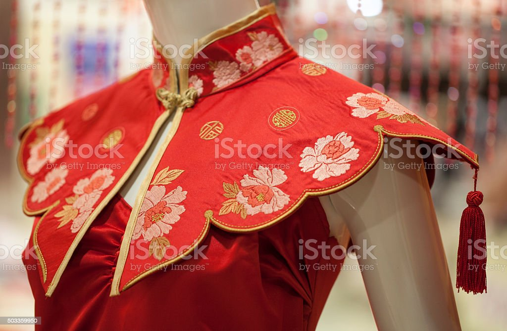 Chinese embroidery Cheongsam stock photo