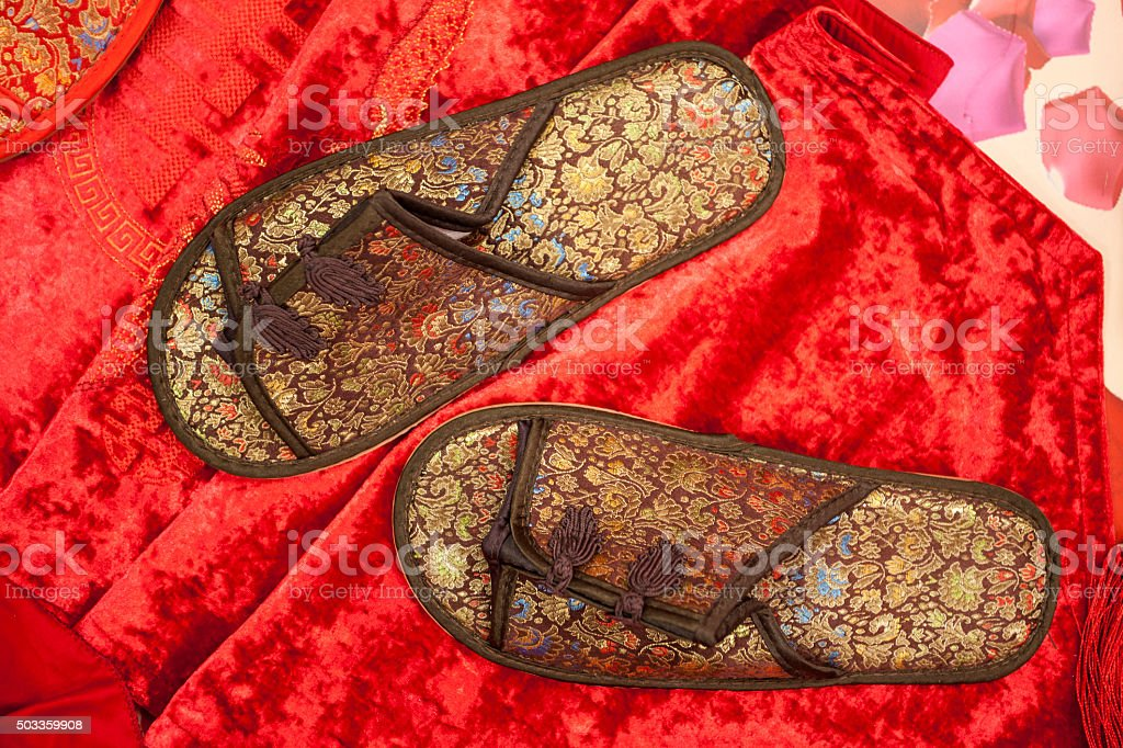 Chinese embroidery shoes stock photo