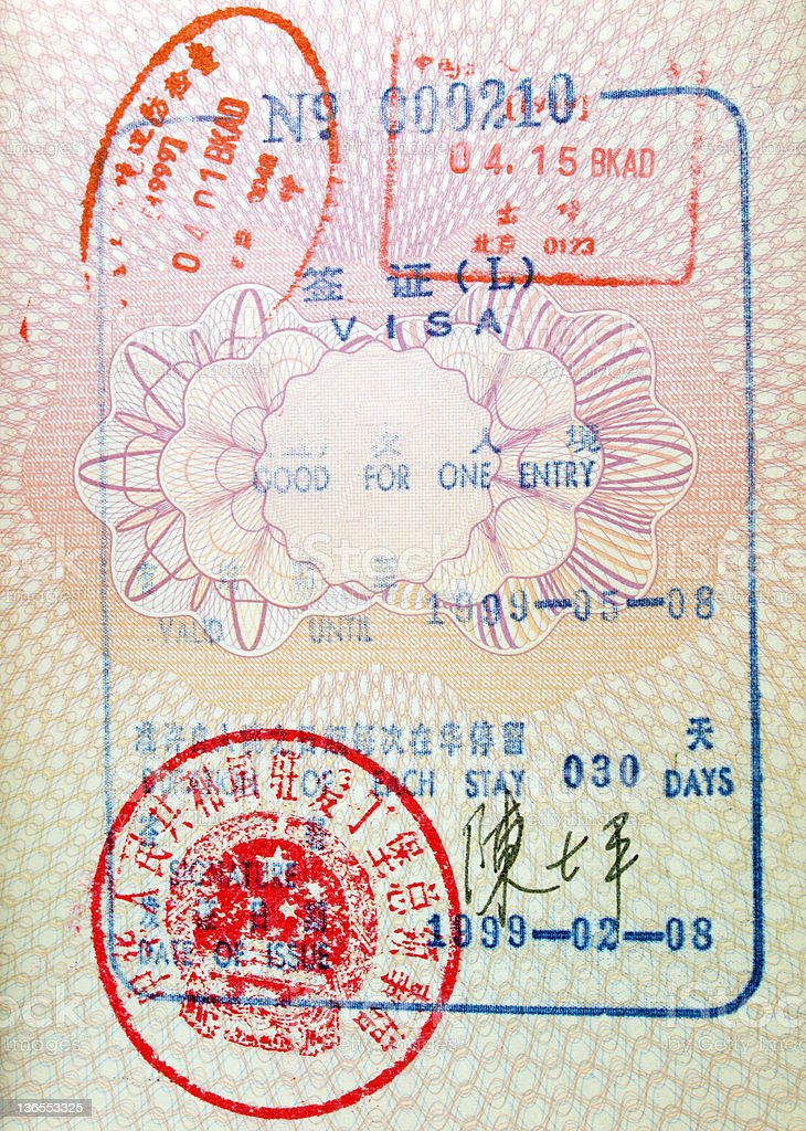 Chinese Entry Visa in Passport royalty-free stock photo