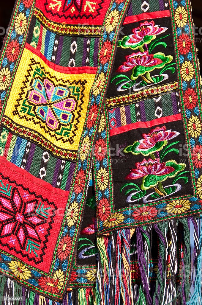 Chinese ethnic minority handmade colorful embroideries stock photo