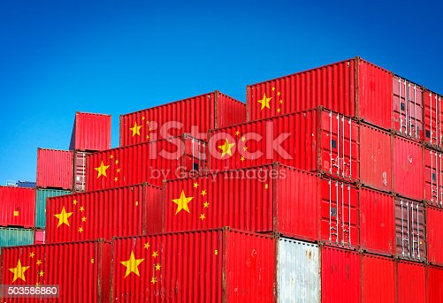 Cargo containers with Chinese flag