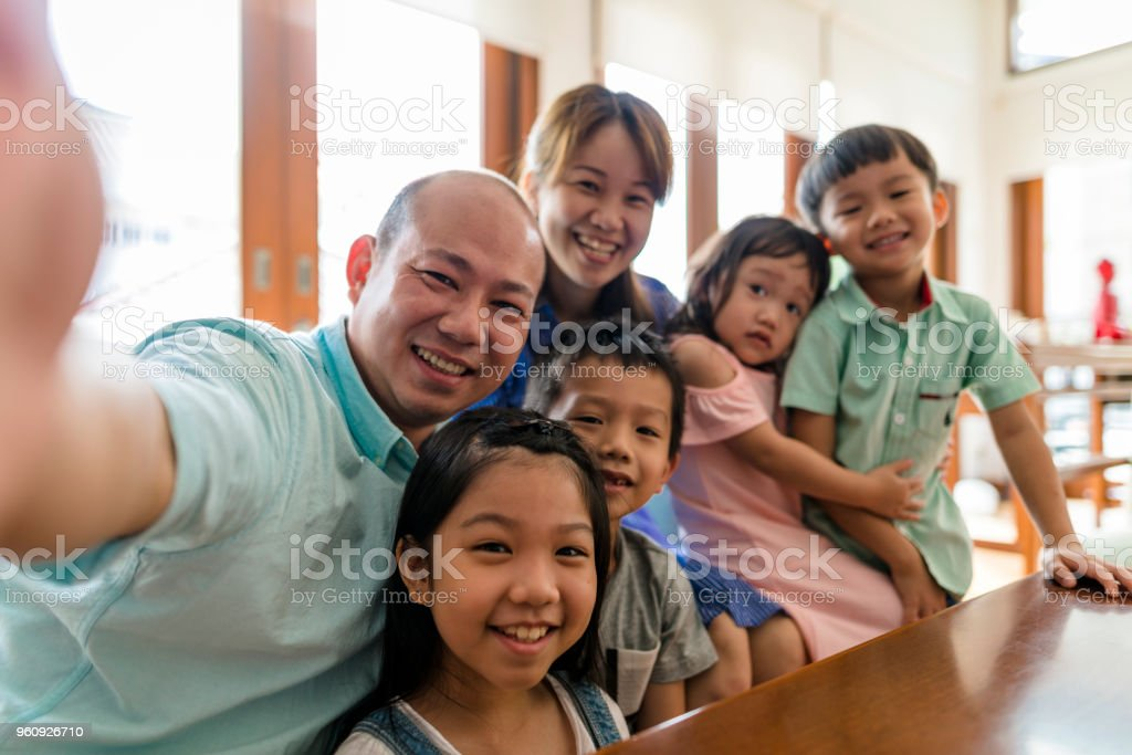 Chinese family-selfie stock photo