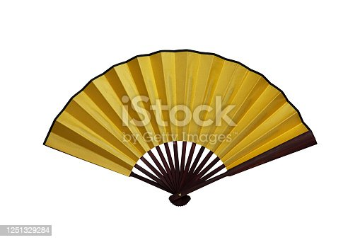 An original golden Chinese fan raise up.