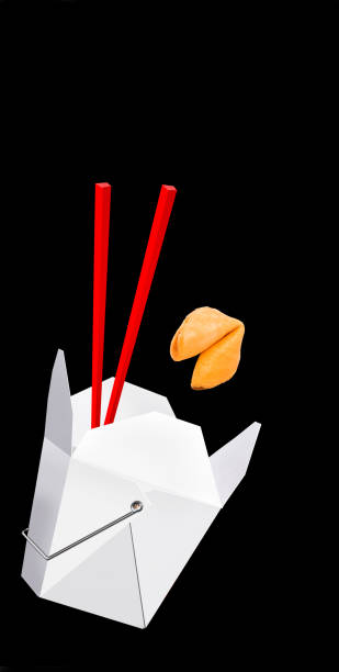 Chinese Fast Food. Chinese take-out food with fortune cookie and room for your type. chinese takeout stock pictures, royalty-free photos & images