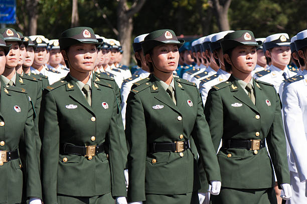 chinese female soldiers marching of the military parade - chinese military bildbanksfoton och bilder
