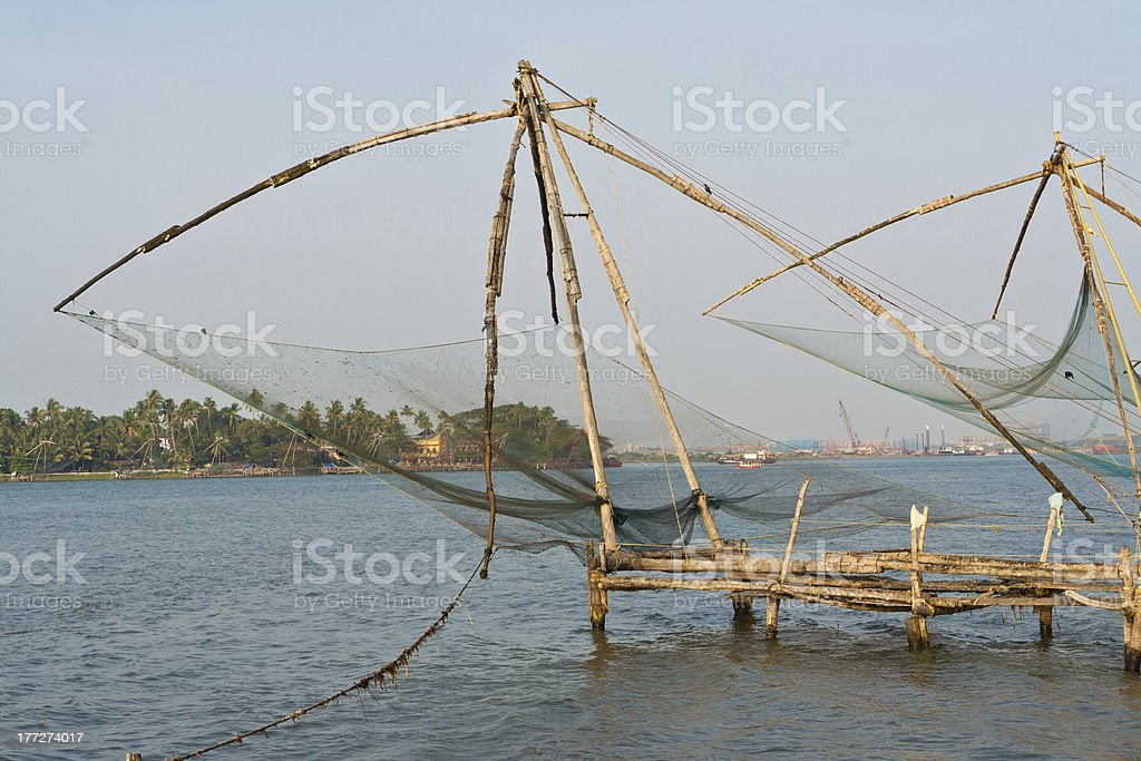 Chinese fisher net in Cochin, Kerala, India royalty-free stock photo