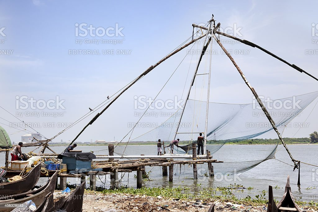 Chinese fishing net stock photo
