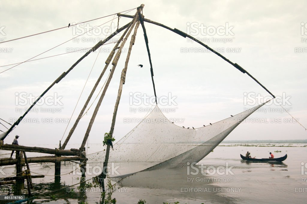 Chinese Fishing nets at Kochi in the Kerala region of southern India stock photo