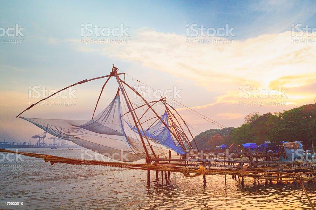 Chinese fishing nets at sunrise in Kochi, India stock photo