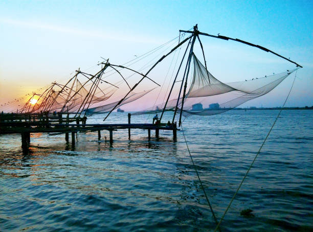 Chinese Fishing Nets at sunset, Fort Kochin, India. Chinese Fishing Nets at sunset, Fort Kochin, India. fishing net stock pictures, royalty-free photos & images